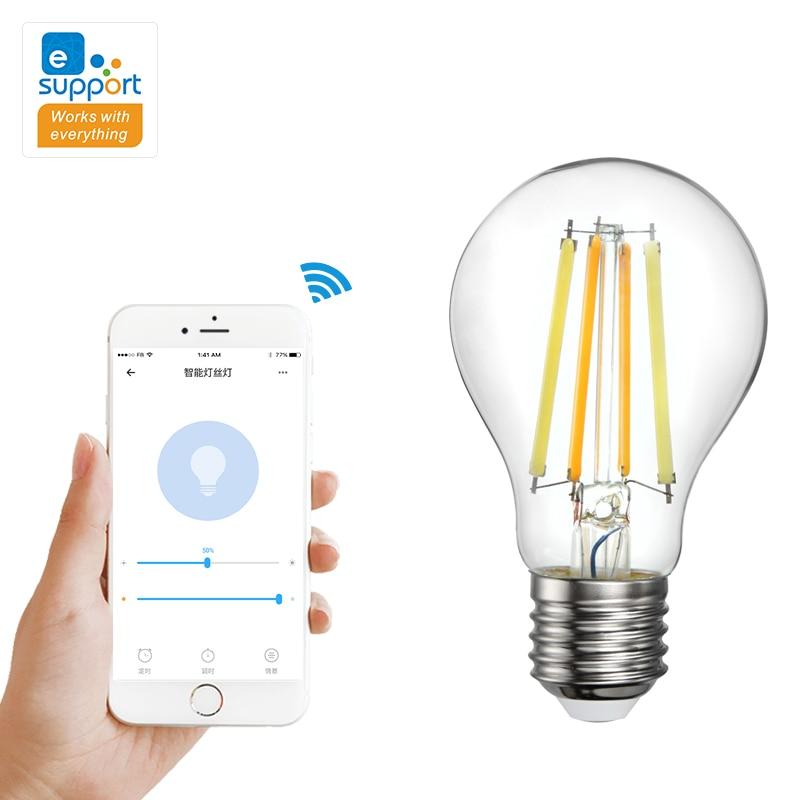 Беспроводные смарт-лампы ретро лампы накаливания умный светильник лампочка приложение eWeLink дистанционного Управление 2700-6500K двухцветная л...