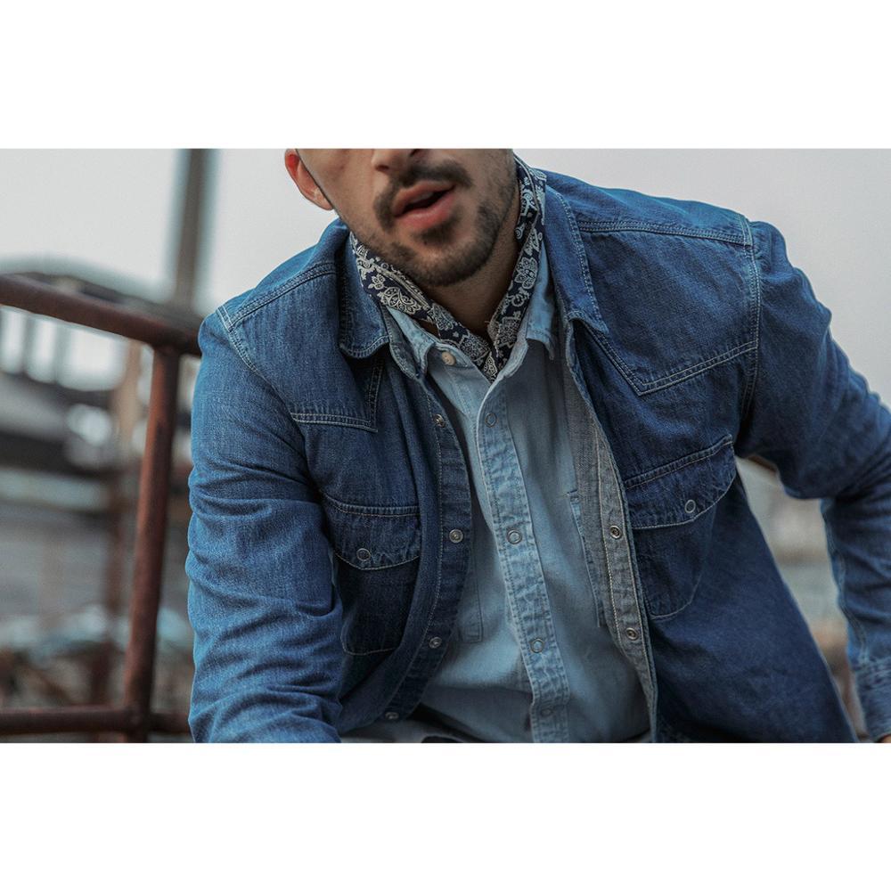 Image 3 - Мужская джинсовая рубашка SIMWOOD, Повседневная рубашка из 100%  хлопка с пуговицами, большие размеры, качественная брендовая одежда,  весна 2020, 190407Повседневные рубашки