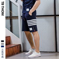 men's contrast color sport casual with button dyed cotton summer beach shorts men panelled short pants male youth