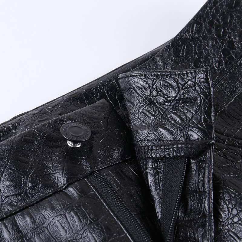 InstaHot Black High Waist Pencil Faux Leather Pants Women Casual Elegant Carving Print Ankle Length Pants Streetwear Trousers 69