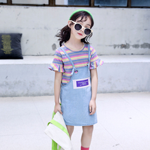 2019 feiluo Summer Casual gallus skirt +shirt 2pcs set Clothing Kids For 5 6 10 Years girls clothes TTX330 toddler girl
