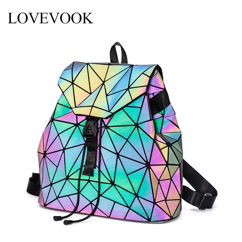 Women Backpack School-Bag Teenagers Large-Capacity Girls No LOVEVOOK for Foldable Geometric