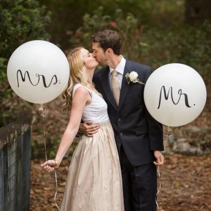 Большой Размеры 36 дюймов Mr Mrs белый латексные шары для Свадебная вечеринка, свадебная обувь, с надписью