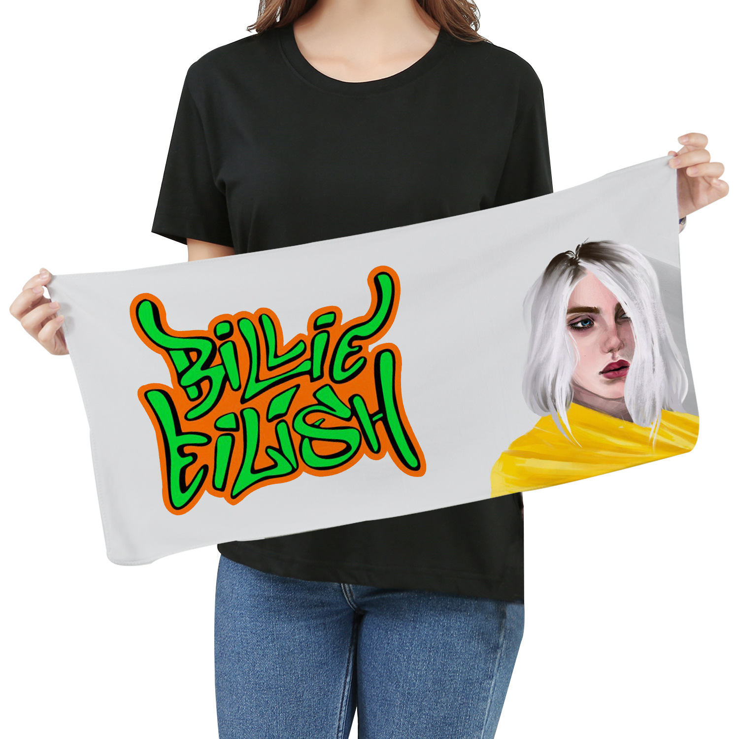 2019 Billie Eilish Towel Fans Respond To Aid Periphery Towel Wash One's Face A Piece Of Cloth Exceed Fine Fiber Banner Towel