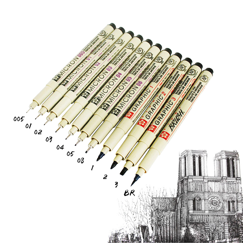 0.05~1cm Japan SAKURA Needles Pen Professional Drawing  Fiber Sketch Sign Pen For Designer Architect Office School DP028