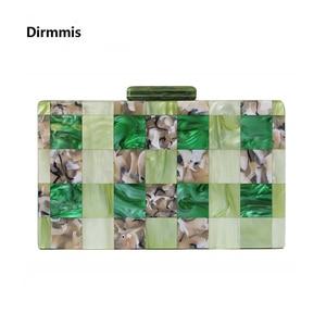 Image 1 - Brand Fashion Designer Women New Acrylic Green Beige Patchwork Evening Bag Luxury Party Handbag Woman Casual Box Clutch Purse