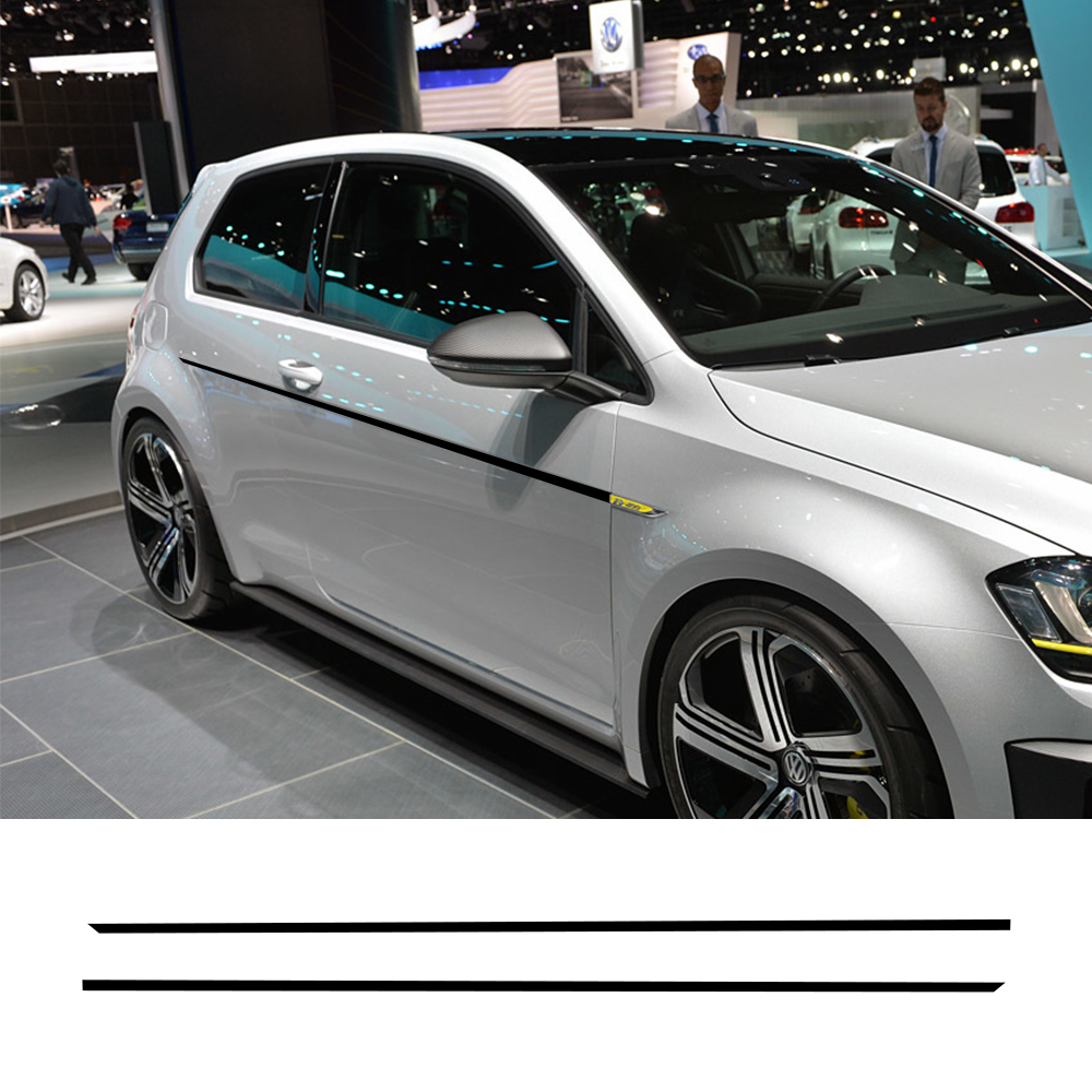 2PCS Car Door Side Skirt Sports Stickers For Volkswagen <font><b>VW</b></font> <font><b>Golf</b></font> 7 5 4 3 6 2 1 MK7 MK5 MK2 MK6 MK4 MK1 <font><b>MK3</b></font> <font><b>GTI</b></font> Auto Accessories image