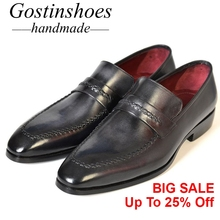 GOSTINSHOES HANDMADE Mens Loafers Customize Goodyear Welted Slip-On Pointed Hand-Painted Cow Leather Casual Shoes Men SCT29 цена в Москве и Питере
