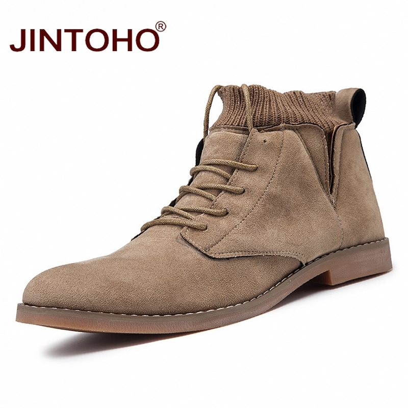 JINTOHO Pointed Toe Men Winter Boots Fashion Mens Ankle Boots Casual Male Leather Boots Snow Winter Shoes Winter Sneakers