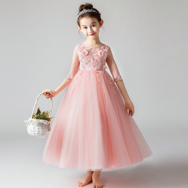 Girl's Dress Birthday Banquet Embroidery Dress Girls School Party Dinner Dresses For Graduation Ceremony Vestido Chines