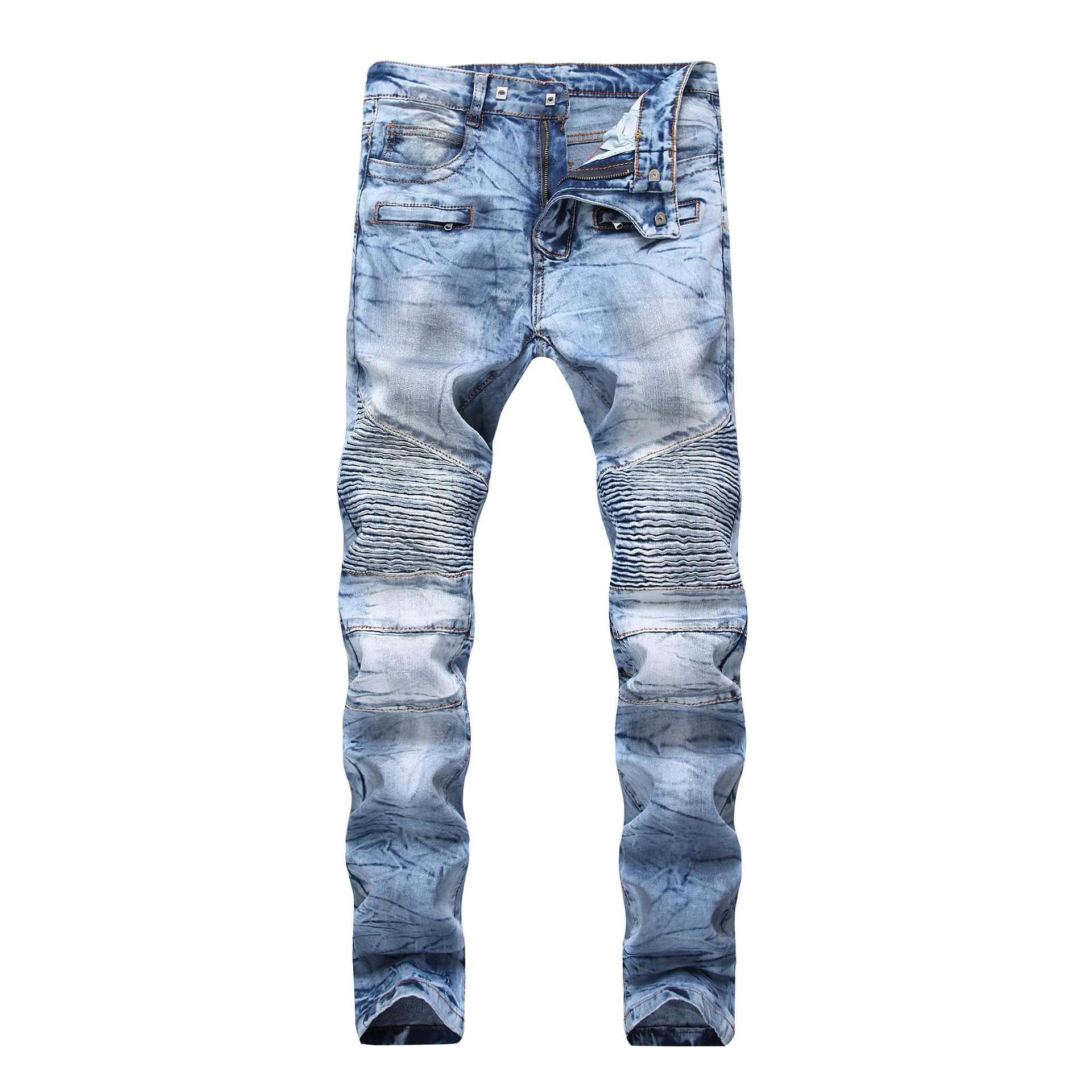 Sokotoo Men's Dirty Light Blue Biker Jeans For Motorcycle Slim Fit Stretch Denim Straight Pants
