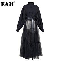 [EAM] Women Black Hem Mesh Split Big Size Blouse New Stand Collar Long Sleeve Loose Fit Shirt Fashion Spring Autumn 2020 1N879