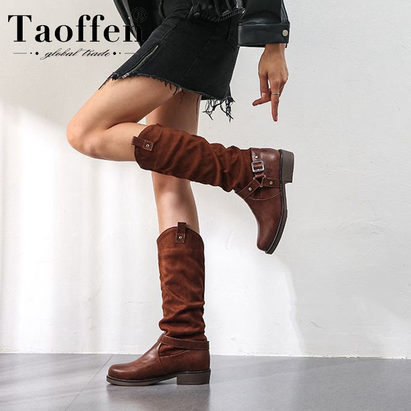TAOFFEN Size 34-48 Sexy Women Fashion Winter Rivets Mid Calf Boots Office Ladies Work Club Outdoor Black Shoes Woman Footwear