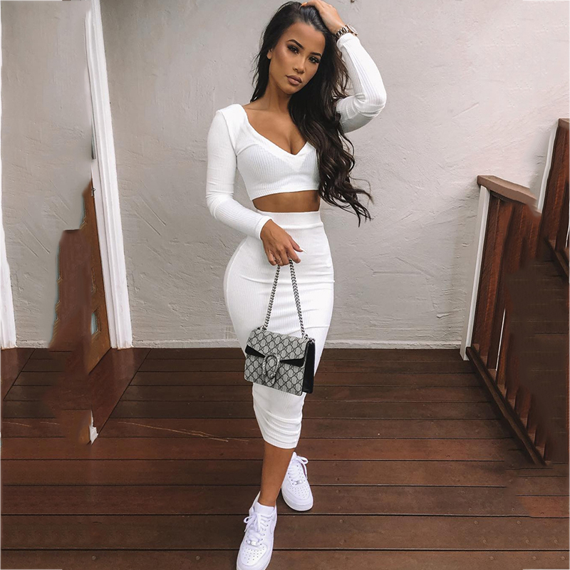 NewAsia Sexy Two Piece Set V-neck Long Sleeve Crop Top Long Skirt Set Party Clothing Sets Outfit Women Two Piece Outfits 2020