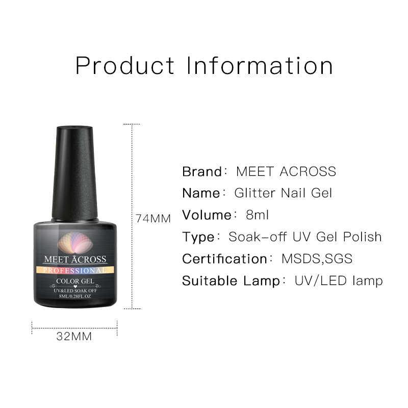Bertemu Di Glitter Kuku Gel Polandia Semi Permanen Payet Sinar UV Gel Manicure Rendam Off Mengkilap Nail Art Gel Lacquer Varnish