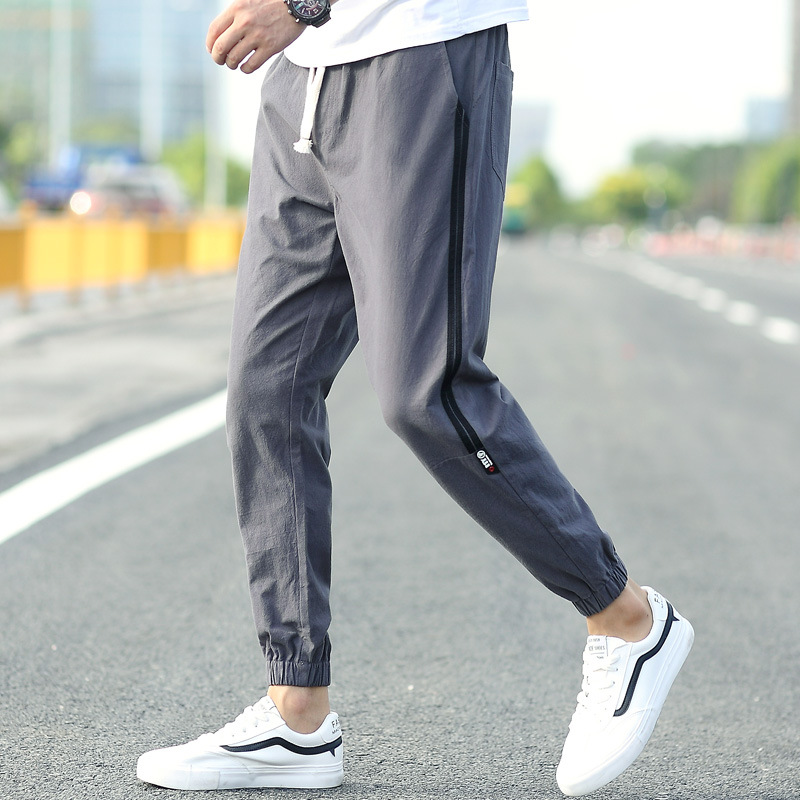 Autumn Hot Selling Pure Cotton Casual Pants Men Cotton Linen Capri Pants Skinny Pants MEN'S Long Trousers Cotton Linen Capri Ank
