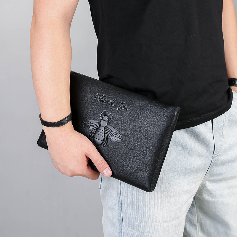 Роскошный брендовый мужской клатч, кожаный Длинный кошелек-конверт, сумочка для денег, деловой бумажник с ремешком на руку для телефона, Муж...