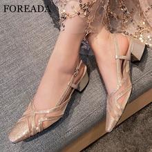 FOREADA Women High Heels Crystal Slingbacks Shoes Cutouts Square Toe Shoes Dress Buckle Block Heel Shoes Female Pumps Apricot pu square toe block heel slingback pumps