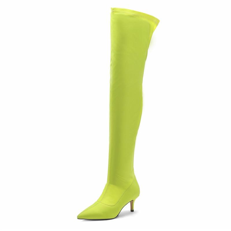 Эластичные зеленые сапоги из лайкры женские сапоги выше колена на среднем каблуке 5,5 см новые демисезонные сапоги до бедра без застежки Бол...