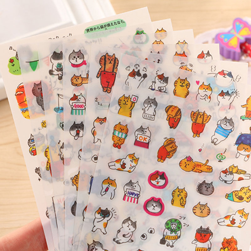 6 Pcs/lot Cute Kawaii PET Stickers Cartoon Cat Sticky Paper For Kids Gift Diy Scrapbooking Stickers Diary Ablum Stationery