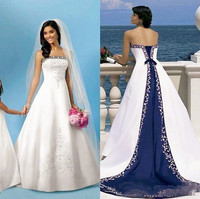 2020 Hot White And Blue Satin Beach Wedding Dresses Strapless Embroidery Chapel Train Corset Custom Made Bridal Gowns For Church