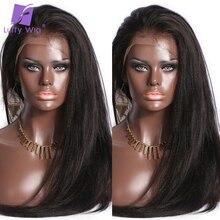 Peluca recta Yaki prearrancada con malla frontal 13x4, pelucas de cabello humano brasileño Remy, nudos blanqueados, peluca LUFFY