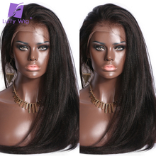 Preplucked Yaki Straight Lace Front Wig 13x4 Lace Front Human Hair Wigs Brazilian Remy Hair Bleached Knots LUFFY Wig