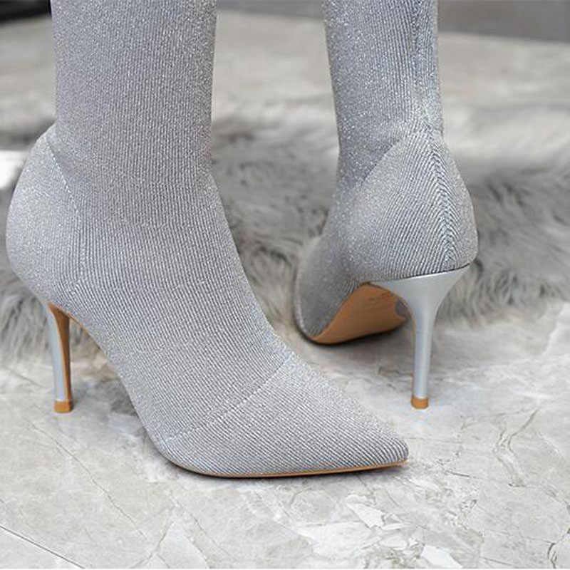 Größe 34 ~ 40 Neue Grau Rot Schwarz Stitching Gestrickte Wolle Spitz Dünne Ferse Pailletten Kurze Stiefel Weibliche Socken Stiefel weibliche T11-57