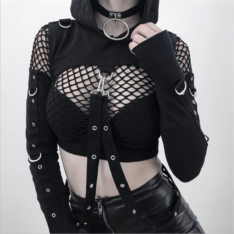 Cool <font><b>Gothic</b></font> <font><b>Halloween</b></font> Short Hoodies <font><b>Women</b></font> <font><b>Sexy</b></font> Hollow Out Off Shoulder Long Sleeve Hooded Sweatshirt Casual Belt Pullover image