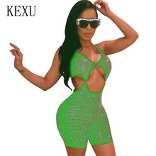 KEXU Sparkly Diamonds Sexy Playsuits Streetwear Bodycon Summer Overalls Womens Elegant Sleeveless Hollow Out Jumpsuits Rompers