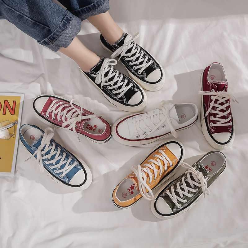 Yeni kanvas ayakkabılar kadın ilkbahar ve sonbahar öğrenciler vahşi kore plaka ayakkabı kadın rahat düz ayakkabı BB-48