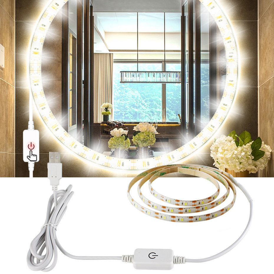 Led Strip Mirror Light 1M 3M 5M USB 5V Bathroom Makeup Vanity Light Tape On Mirror Touch Dimmable Mirror Lights Dressing Table