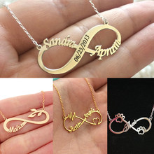 Personalized Double Name Engraved Date Numerals Cat Dog Paw Leaf Heart Infinity Pendant Necklaces Stainless Steel Custom Jewelry(China)