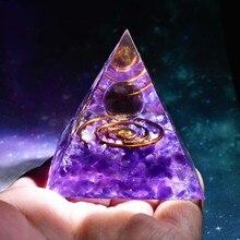 Handmade Orgonite Pyramid 60mm Smoky Crystal Sphere With Amethyst Reiki Energy Healing Meditation Orgone