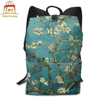 Van Gogh plecak Van Gogh plecaki drukuj torba studencka Street męskie-damskie modne torby wysokiej jakości tanie i dobre opinie PrintToday Poliester Tłoczenie Unisex Miękka Poniżej 20 litr Wnętrze slot kieszeń Miękki uchwyt NONE zipper Ił kieszeń