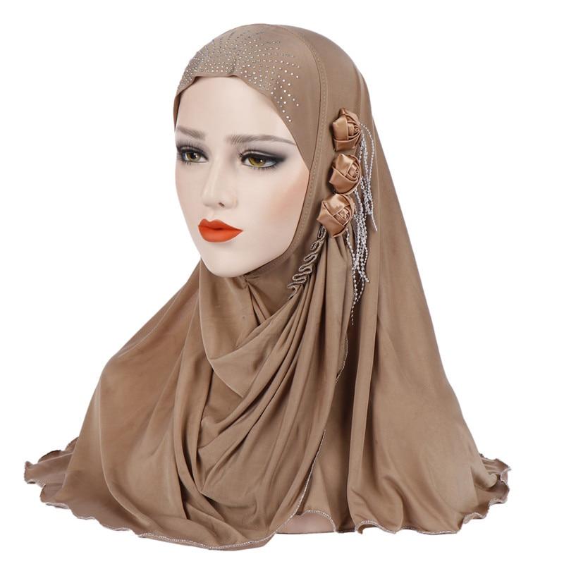 2019 New Muslim Diamonds Instand Hijab Islamic Plain Jersey Headscarf Malaysia Hijab Foulard Femme Musulman Arab Headwrap