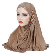 2019 New muslim diamonds instand hijab islamic plain jersey headscarf malaysia foulard femme musulman arab headwrap