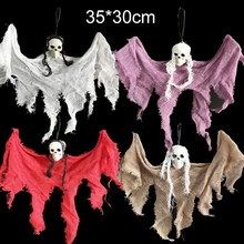 Halloween Skull Little Hanging Ghost Horror Haunted House Props Supplies DecorationsCM