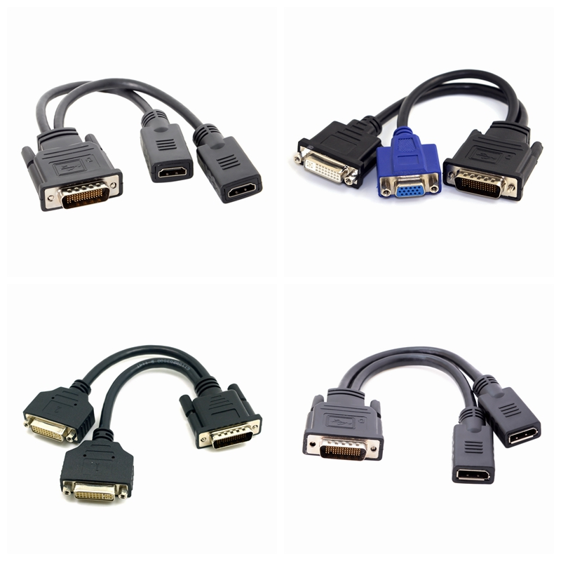 DMS 59PinDMS-59 DP Hdmi Male To 2 X VGA DVI 24+5 Female Converter Adapter Dual Link Video Splitter Cable For Dual Monitor System