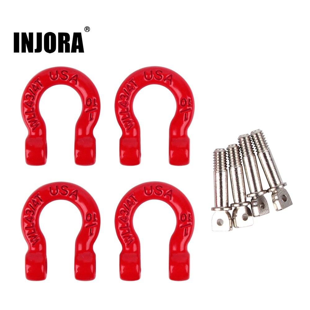 RCPro 4Pcs Red Metal Bumper D-ring Tow Hook for 1/10 RC Crawler Car Traxxas TRX-4 Axial SCX10 90046 D90