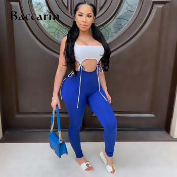 lace up hollow out patchwork women long jumpsuit sleeveless bodycon sexy streetwear 2020 summer clothes outfit club neon