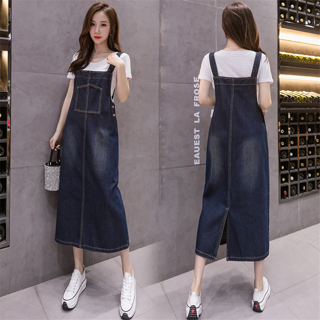 2021 New Korean Fashion Long Denim Sundress Vintage Jeans Dress Women Suspenders Dresses Female Overalls Robe Femme 5
