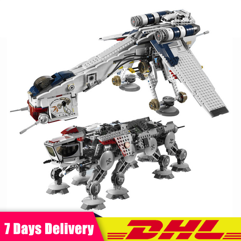 05053 Star War The Republic Dropship with AT-OT Walker Set Building Blocks Bricks Children Toys Compatible Legoinglys <font><b>10195</b></font> image