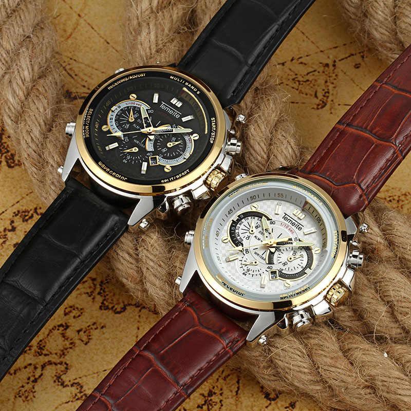 TEMEITE กีฬา Casual Quartz นาฬิกาผู้ชายสายหนังสีน้ำตาล Sub-dials ตกแต่ง Luminous Hands แฟชั่นนาฬิกาข้อมือนาฬิกา