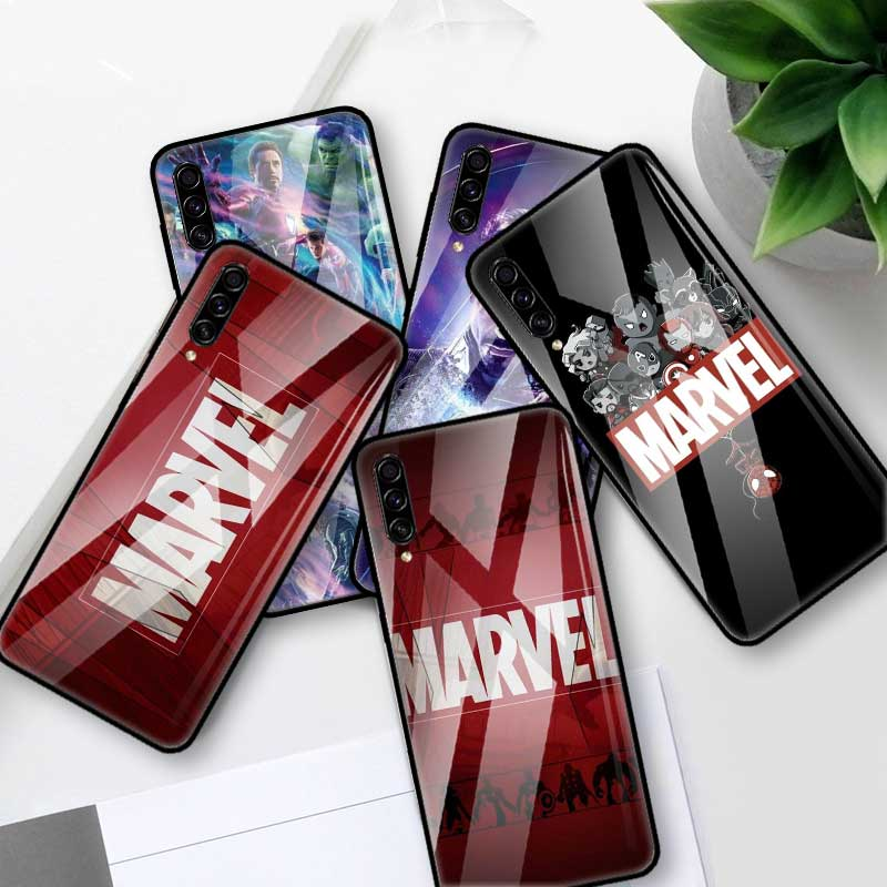 <font><b>Marvel</b></font> Comics <font><b>Logo</b></font> Glass <font><b>Case</b></font> For <font><b>Samsung</b></font> <font><b>Galaxy</b></font> A70 A50 A40 <font><b>A30</b></font> A20 S A10 A91 J4 J6 Plus A51 A71 Tempered Phone Coque Cas image