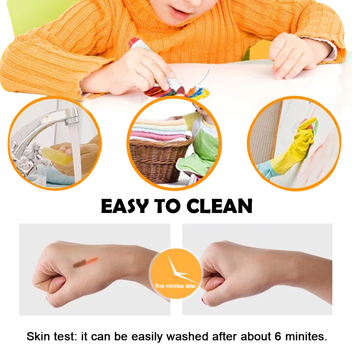 KIDDYCOLOR 36 Colors Watercolor Pens Washable Art Markers Conical Tip Broad Line Markers for Kids