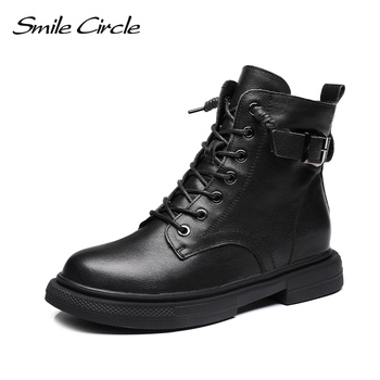 Smile Circle winter Ankle Boots Women platform shoes Genuine Leather Comfortable Keep warm Ladies boots short 2019