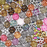 10-200pcs 10mm 12mm 20mm 25mm 40mm Animal Skin Printed Round Photo Glass Cabochons Demo Flat Back Making Findings