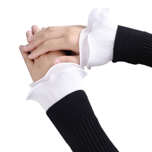 Ladies Decorative Fake Sleeve Double Layer Wrinkled Ruffles Cuffs Wrist Warmers