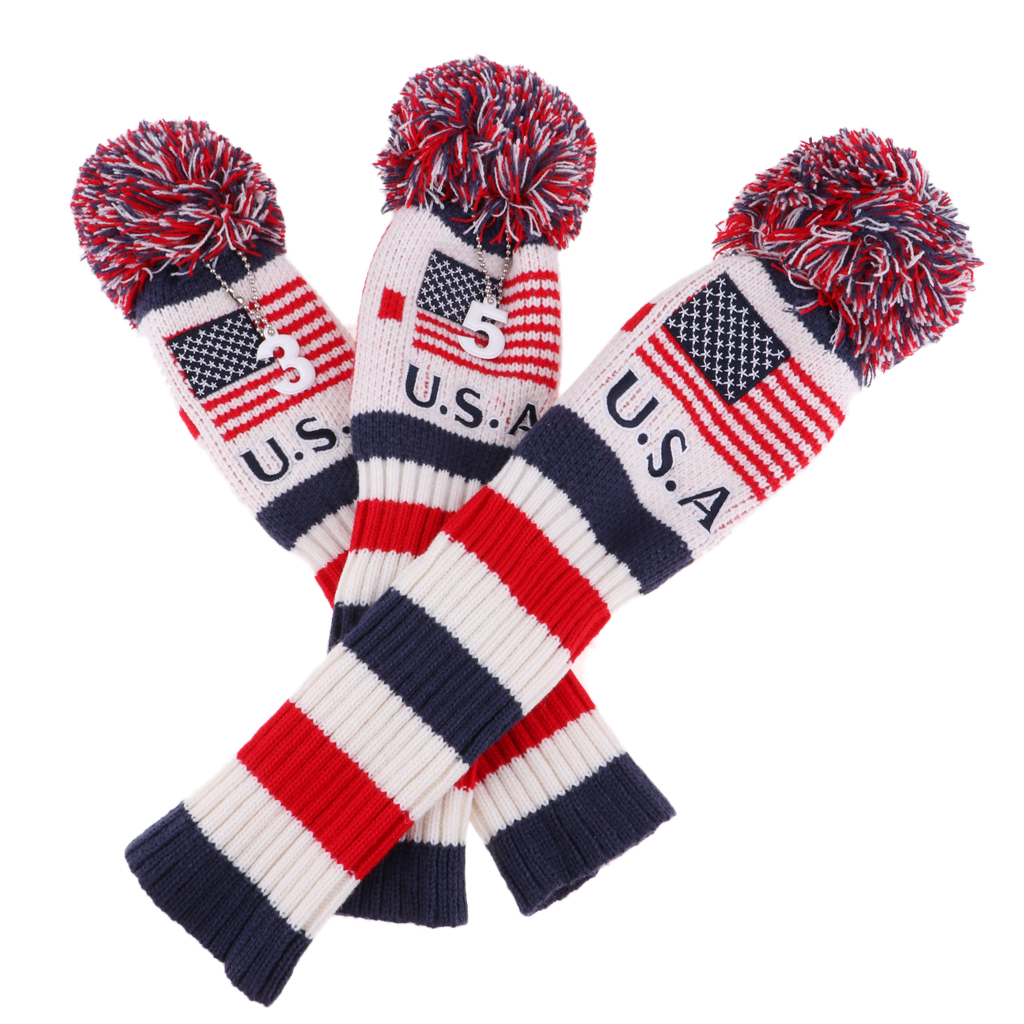 3Pcs Knit Vintage Pom Pom Headcover Head Cover Golf Club Headcovers With Number Tag # 1 3 5